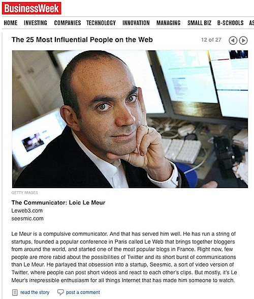 Loic Le Meur Business Week 25 most influential on the web